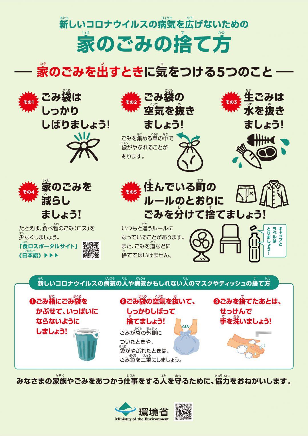 画像:新型コロナウイルスなどの感染症対策のためのご家庭でのごみの捨て方/新型(しんがた)コロナウィルスを広(ひろ)げないための家(いえ)のごみの捨(す)て方(かた)/ HOW TO DISPOSE OF HOUSEHOLD GARBAGE For Infection Prevention and Control Measures to the Novel Coronavirus